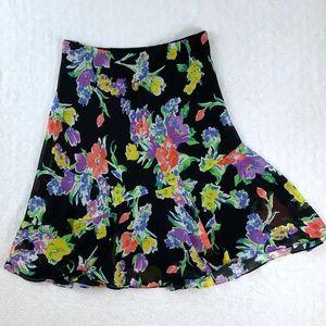 Chaps Asymmetrical Ruffled Floral Midi Skirt